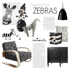 """Inspired by Zebras"" by c-silla ❤ liked on Polyvore featuring interior, interiors, interior design, home, home decor, interior decorating, Artek, Lalique, Universal Lighting and Decor and Brownstone"