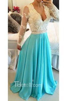 2016 long prom dress, blue chiffon prom dresses, long sleeves prom dresses, v-neck prom dress