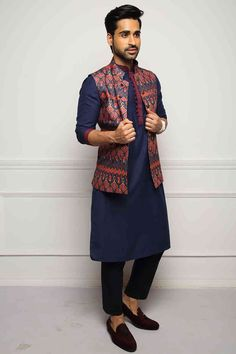 Exclusive Blue Kurta Set with Contrasting Ethnic Jacket - Exclusive Blue Kurta Set with Contrasting Ethnic Jacket – Ethnic Men's Kurta for Every Occasion - Mens Indian Wear, Mens Ethnic Wear, Indian Groom Wear, Indian Men Fashion, Mens Fashion, Wedding Kurta For Men, Wedding Dresses Men Indian, Wedding Dress Men, Wedding Outfits For Men