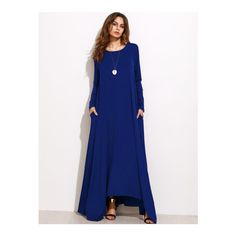 SheIn(sheinside) Navy Long Sleeve Shift Maxi Dress (1.560 RUB) ❤ liked on Polyvore featuring dresses and navy