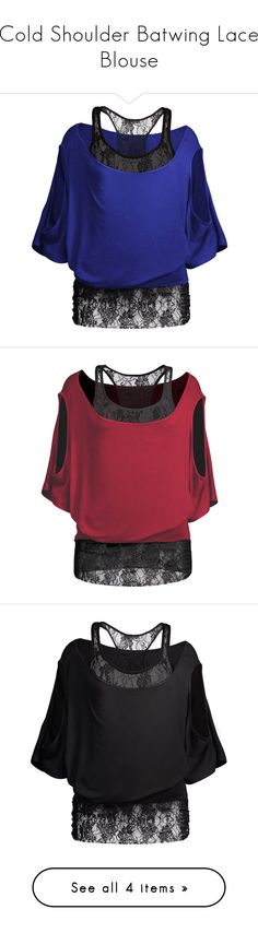 """""""Cold Shoulder Batwing Lace Blouse"""" by rosegal-official ❤ liked on Polyvore featuring tops, blouses, open shoulder blouse, lace blouse, batwing blouse, cut-out shoulder tops, blue lace top, lacy blouses, red top and cut out shoulder top"""