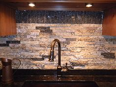 Beautiful split granite backsplash!