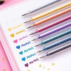 12Pcs Glitter Gel Pens Set Sparkled for Coloring Book Drawing Doodling Sketching