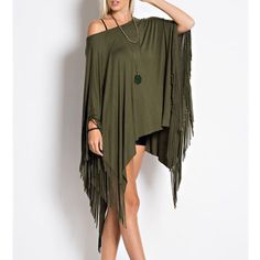 """Last Duchess"" Fringed Poncho Tunic Top Fringed loose poncho tunic top. Available in burgundy and olive. This listing is for the OLIVE. Brand new. True to size. NO TRADES. Bare Anthology Tops Tees - Short Sleeve"