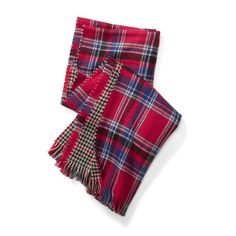 Stitch Fix Monthly Must-Haves: A plaid scarf in bold red is the perfect addition to a cozy, festive look.