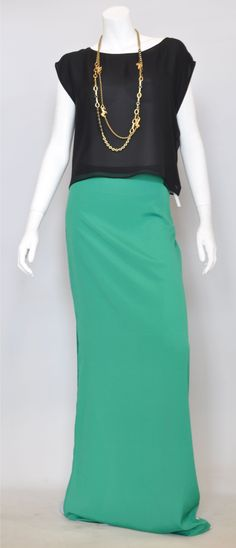 Love this green Alexis Maxi Skirt with Alice + Olivia top!