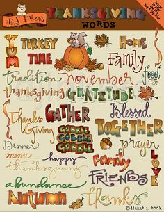 Thanksgiving Words, thanksgiving clip art, fall sayings, autumn sayings