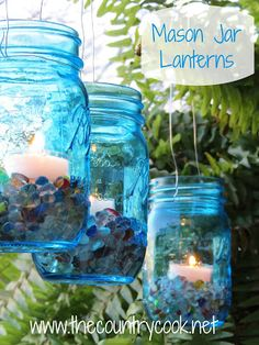 Mason Jar Lanterns DIY from The Country Cook. Ball Canning heritage jars.