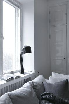 Musta Innolux Pasila -pöytävalaisin ikkunalaudalla. Design by Juho Pasila. Bed, Interior, Furniture, Design, Home Decor, Decoration Home, Stream Bed, Indoor, Room Decor