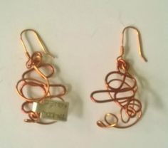 Copper squiggly earring (two tone)---TRJ