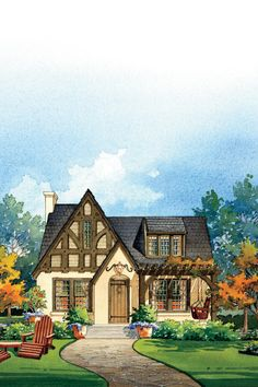 Transforming simple Tudor home with good bones is easily accomplished with layered detailing and color. Timbers in the front gable stay true to the Tudor roots and a