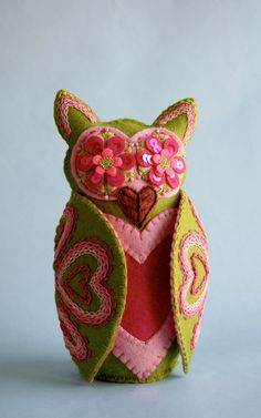 Owl Doll- Embroidered Wool Felt- Mexican Folk Art- Hoot