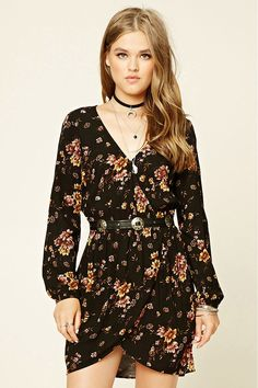 Floral Print Surplice Dress