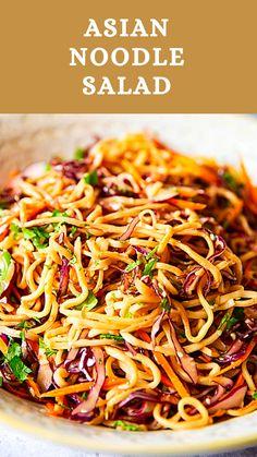 Vegetarian Recipes, Cooking Recipes, Healthy Recipes, Detox Recipes, Summer Recipes, Asian Noodles, Asian Noodle Salads, Asian Salads, Thai Noodle Salad