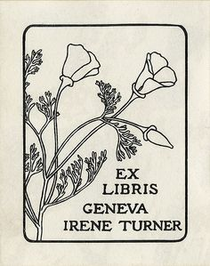 Ex Libris ~ Geneva Irene Turner ~ bookplate