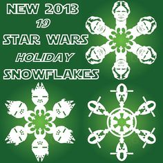 With winter upon us, we thought it would be fun to share a fun project of ours with you: snowflake designs with a Star Wars twist. Star Wars Christmas Tree, Xmas Tree, Christmas Holidays, Christmas Ideas, Snowflake Craft, Snowflake Designs, Star Wars Snowflakes, Paper Snowflakes, Rainbow Bubbles