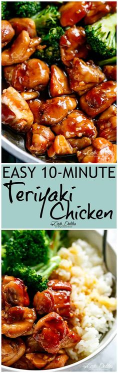 Teriyaki Chicken with broccoli is a super easy chicken recipe cooked in with no marinading needed! Crispy and juicy skinless chicken thighs stir-fried and swimming in a beautiful flavoured homemade teriyaki sauce. A hint of garlic adds a twist o Chicken Teriyaki Recipe, Healthy Chicken Recipes, Turkey Recipes, Asian Recipes, Dinner Recipes, Cooking Recipes, Dinner Ideas, Freezer Cooking, Freezer Meals