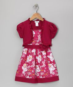 Take a look at this Raspberry Hibiscus Dress & Shrug - Infant, Toddler & Girls by Littoe Potatoes on #zulily today!