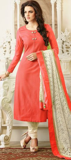 425513 Orange color family Bollywood Salwar Kameez in Silk, Chanderi fabric with Floral work. Salwar Kameez Simple, Indian Salwar Kameez, Churidar, Dress Neck Designs, Blouse Designs, Pakistani Dresses, Indian Dresses, Indian Suits, Simple Dresses