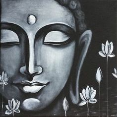 Buddha Peace, Art Prints of Original Painting by Pratibha Madan Black Canvas Paintings, Indian Art Paintings, Black Canvas Art, Modern Art Paintings, Canvas Art Prints, Budha Painting, Painting & Drawing, Peace Painting, Ganesha Painting