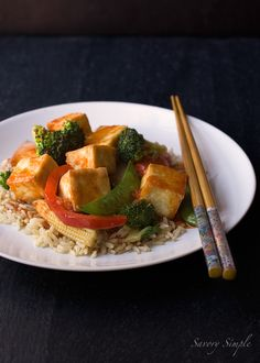 This delicious Weight Watchers friendly sweet and spicy Asian tofu is a fast and satisfying lunch or dinner.