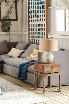 Love this rustic yet modern living room setup. perfect for farmhouse. Anthropologie Aliso Lamp Ensemble. #afflink