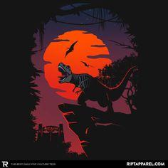 """Jurassic Park T-Shirt by Guillercraist. """"Dino Park Sunset"""" is a t-shirt for fans of Jurassic Park featuring a tyrannosaurus rex. Jurassic Movies, Jurassic World Dinosaurs, Jurassic Park World, Jurassic Park Wallpaper, Dinosaure Herbivore, Jurassic Park T Shirt, Jurrassic Park, Dino Park, Michael Crichton"""