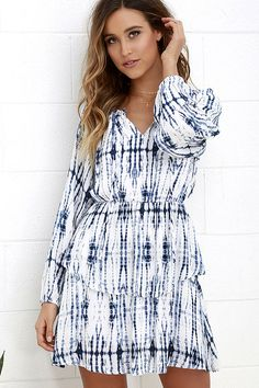 Oral Tradition Ivory and Navy Blue Tie-Dye Dress at Lulus.com!