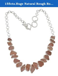 155cts.Huge Natural Rough Rose Quartz Necklace Solid 925 Silver Jewelry IN10101. JewelsVilla specialises in creating exquisite jewelry set with rare gemstones. Stone Name(s): Rough Rose Quartz Metal: Solid 925 Sterling Silver Stone Size(Approx. MM): Free Size Length (Inch): 18.5 Inch Total Necklace Weight(Approx. Gms): 53.7.