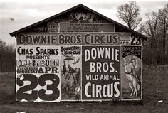 Posters advertising a 1936 circus near Lynchburg, South Carolina. 35mm nitrate negative by Walker Evans for the Farm Security Administration.