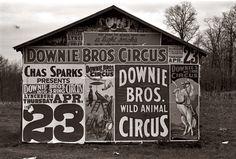 Walker EVANS :: Posters advertising a circus near Lynchburg, South Carolina, 1936