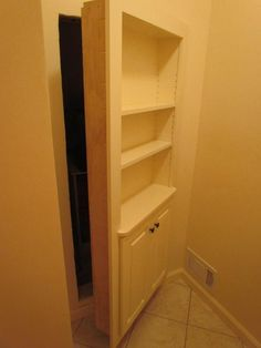 Hidden Storage area, leading to attic storage. Bookshelf as the door