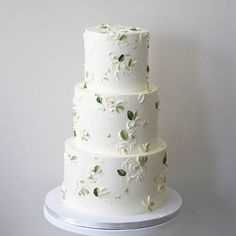 Love the little green leaves. Add real orange flowers on each tier to match flow Love the little green leaves. Add real orange flowers on each tier to match flow… , Painted Wedding Cake, 3 Tier Wedding Cakes, Buttercream Wedding Cake, Elegant Wedding Cakes, Beautiful Wedding Cakes, Wedding Cake Designs, Beautiful Cakes, White Buttercream, White Wedding Cakes