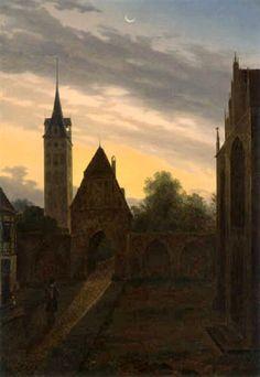Détails Artiste:Carl Gustav Carus Un randonneur dans une porte de la ville 1819
