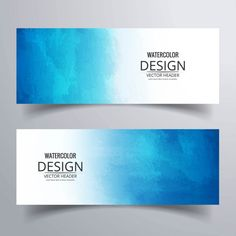 Banners with blue watercolors Free Vector