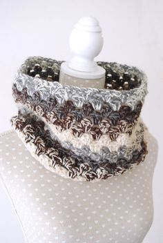 4 Colored Crochet Cowl Scarf Brown and Cream by stunninglooks, €18.85
