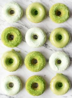Baked Doughnuts Recipe - Love and Lemons Celebrate St. Patrick's Day with these matcha-infused baked doughnuts! Loaded with antioxidants, these treats are lightly sweet, easy to make, and fun to decorate. Baked Doughnut Recipes, Baked Doughnuts, Doughnut Muffins, Sans Gluten Vegan, Gluten Free, Dairy Free, Easy Baking Recipes, Recipe Link, Matcha Green Tea