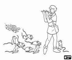 Colorear Sonido de la flauta y las ratas