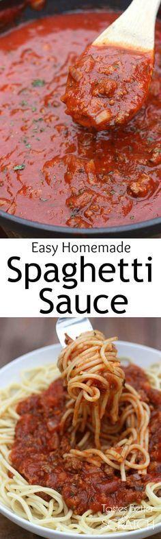 Homemade Spaghetti Sauce recipe from http://TastesBetterFromScratch.com                                                                                                                                                      More