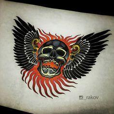 Evil Skull Tattoo, Skull Tattoo Design, Skull Tattoos, Sleeve Tattoos, Traditional Tattoo Cuff, Traditional Tattoo Old School, Traditional Japanese Tattoos, Organic Tattoo, Badass Drawings