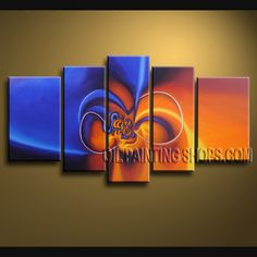 Stunning Modern Abstract Painting Oil Painting On Canvas Panels Gallery Stretched Abstract. This 5 panels canvas wall art is hand painted by A.Qiang, instock - $175. To see more, visit OilPaintingShops.com