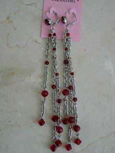 TARINA TARANTINO LONG CHAIN W RED BEADS EARRINGS - http://elegant.designerjewelrygalleria.com/tarina-tarantino/tarina-tarantino-long-chain-w-red-beads-earrings/