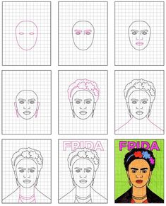 How to Draw Frida Kahlo · Art Projects for Kids. Share how to use grid drawing to make a complex picture easier to draw. Projects For Kids, Art Projects, Fridah Kahlo, Pop Art, Kahlo Paintings, Frida Art, Simple Portrait, Crayon, Easy Drawings
