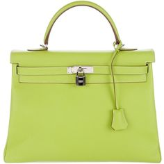 Pre-owned Herm?s Epsom Two-Tone Kelly Retourne 35 ($11,000) ❤ liked on Polyvore featuring bags, handbags, green, real leather purses, leather handbag purse, green leather handbag, hermes handbags and kiss-lock handbags