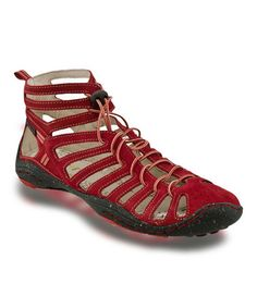 Cute but yet functional booties from #zulily! Red Cutout Barefoot Jade Leather Shoe by Jambu #zulilyfinds