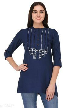Kurtis & Kurtas Ravishing Cotton Kurti  *Fabric* Cotton  *Sleeves* Sleeves Are Included  *Size* XS, S, M, L, XL, XXL, 3XL, 4XL (Refer Size Chart)  *Type* Stitched  *Description* It Has 1 Piece of Kurti  *Work* Embroidery  *Sizes Available* XS, S, M, L, XL, XXL, XXXL, 4XL *    Catalog Name: Solid Embroidered Kurtis CatalogID_10499 C74-SC1001 Code: 105-106137-