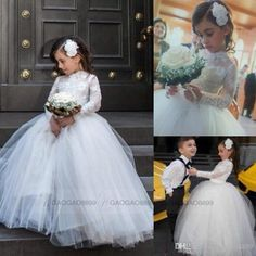 2015 High Neck Girl Flower Dresses Long Sleeve Ball Gown Lace Tulle Floor Length Baby Formal Occasion First Communion Party Prom Skirt Cheap, $74.46 | DHgate.com