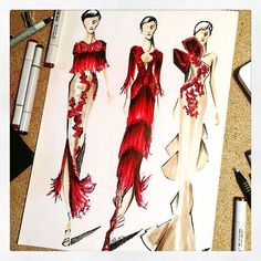 """13.6 k mentions J'aime, 50 commentaires - Marchesa (@marchesafashion) sur Instagram: """"Triple Threat. X Thank you @pepemunozillustrations for this beautiful illustration from the…"""""""
