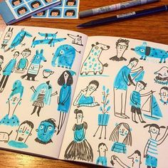Drawing Doodles Sketches Blue and black. Abstract Illustration, Ink Illustrations, Illustration Sketches, Character Illustration, Drawing Sketches, Drawing Ideas, Sketchbook Inspiration, Art Sketchbook, Doodle Drawings
