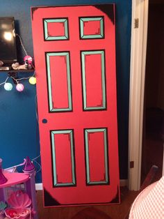 The cartoon door I painted for London's room to match the nightstand I did earlier this year